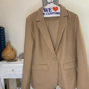 Beige Blazer with Elbow Patch & Beautiful Buttons